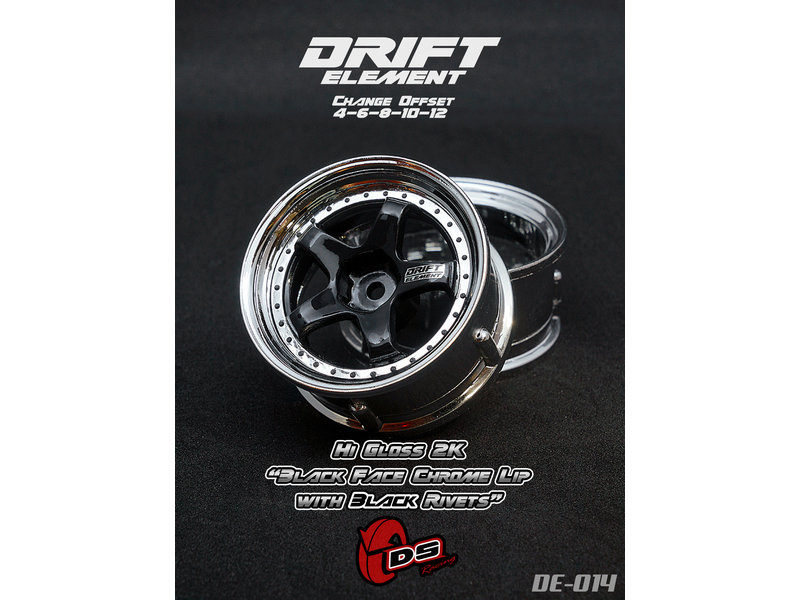 DS Racing DE-014 - Drift Element Wheel - Adj. Offset (2) / Hi Gross 2K Black Face Chrome Lip with Black Rivets
