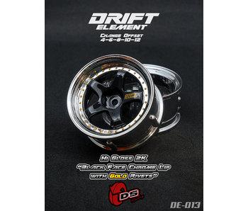 DS Racing Drift Element Wheel - Adj. Offset (2) / Hi Gross 2K Black Face Chrome Lip with Gold Rivets