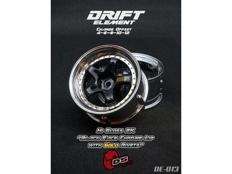DS Racing DE-013 - Drift Element Wheel - Adj. Offset (2) / Hi Gross 2K Black Face Chrome Lip with Gold Rivets