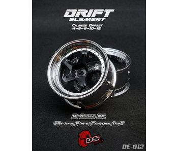 DS Racing Drift Element Wheel - Adj. Offset (2) / Hi Gross 2K Black Face Chrome Lip