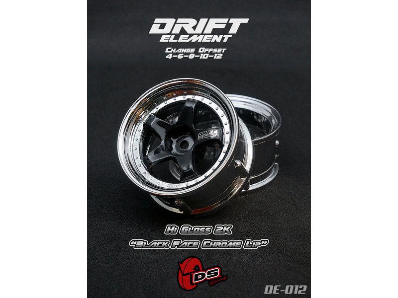 DS Racing DE-012 - Drift Element Wheel - Adj. Offset (2) / Hi Gross 2K Black Face Chrome Lip