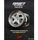 DS Racing DE-011 - Drift Element Wheel - Adj. Offset (2) / White Face Chrome Lip with Gold Rivets