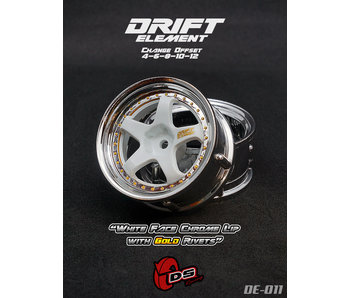 DS Racing Drift Element Wheel - Adj. Offset (2) / White Face Chrome Lip with Gold Rivets