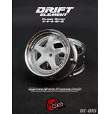 DS Racing DE-010 - Drift Element Wheel - Adj. Offset (2) / White Face Chrome Lip