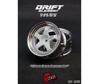 DS Racing Drift Element Wheel - Adj. Offset (2) / White Face Chrome Lip
