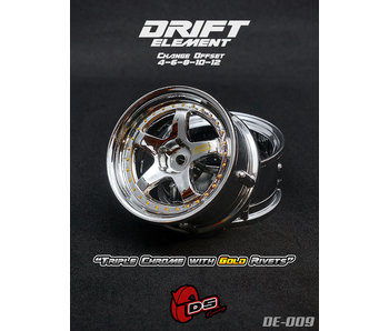 DS Racing Drift Element Wheel - Adj. Offset (2) / Triple Chrome with Gold Rivets