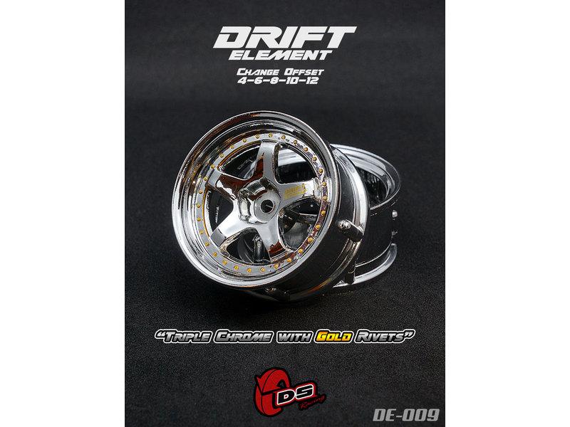 DS Racing DE-009 - Drift Element Wheel - Adj. Offset (2) / Triple Chrome with Gold Rivets