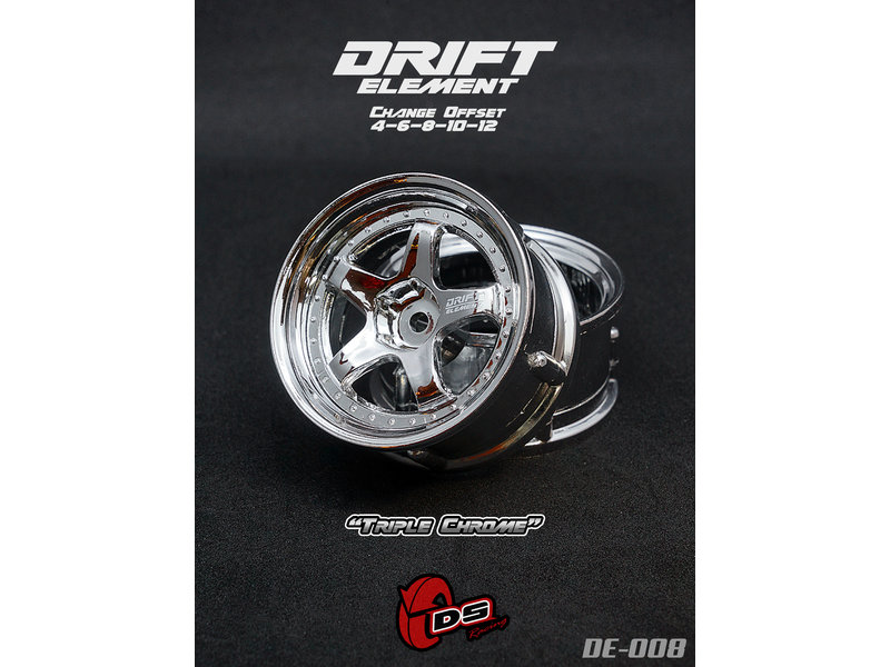 DS Racing DE-008 - Drift Element Wheel - Adj. Offset (2) / Triple Chrome