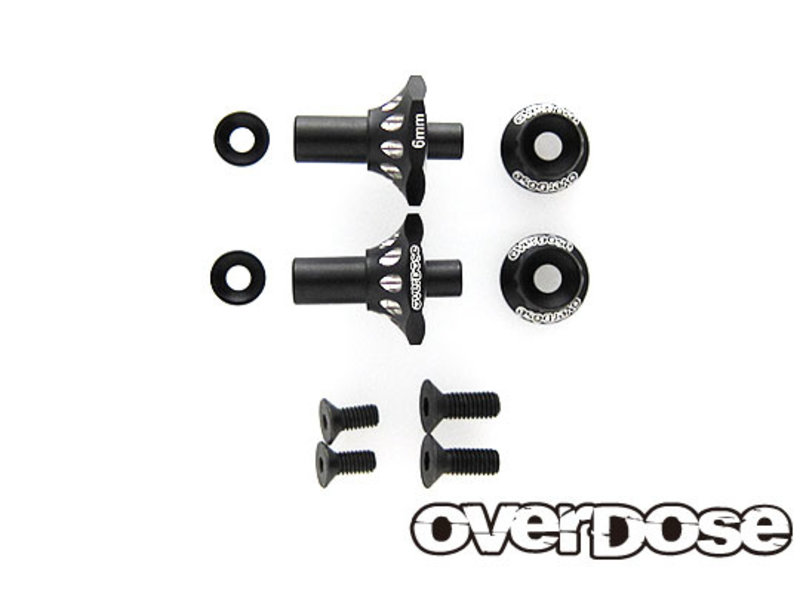 Overdose Aluminum One Piece Axle Shaft 6mm for OD (RWD Front) / Color: Black