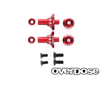 Overdose Alum. One Piece Axle Shaft 6mm for OD (RWD Front) / Red