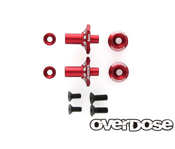Overdose Alum. One Piece Axle Shaft 4mm for OD (RWD Front) / Red