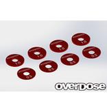 Overdose Aluminum Wheel Spacer Set / Color: Red (8pcs)