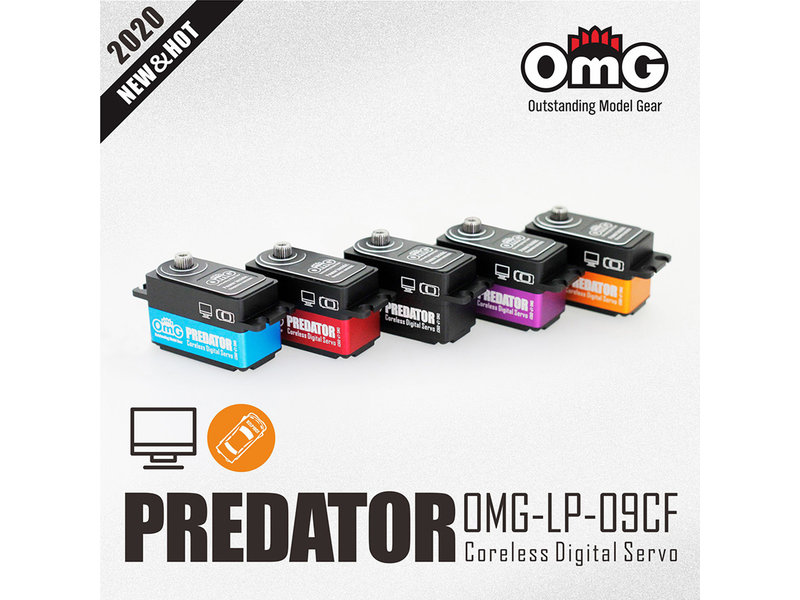 RC OMG LP-09CF/VT - Predator Full Metal Coreless Digital Low Profile Servo - Purple