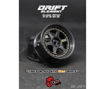 DS Racing Drift Element 2 Wheel - Adj. Offset (2) / Triple Black with Gold Rivets