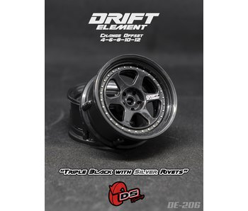 DS Racing Drift Element 2 Wheel - Adj. Offset (2) / Triple Black with Silver Rivets