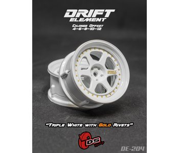 DS Racing Drift Element 2 Wheel - Adj. Offset (2) / Triple White with Gold Rivets