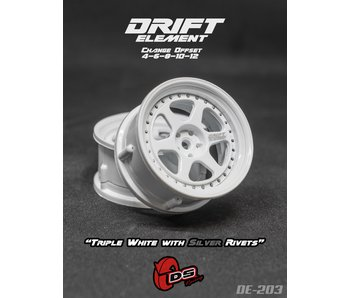 DS Racing Drift Element 2 Wheel - Adj. Offset (2) / Triple White with Silver Rivets