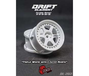 DS Racing Drift Element 2 Wheel - Adj. Offset (2) / Triple White with Black Rivets