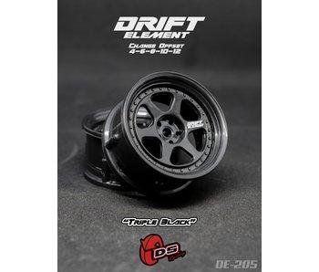 DS Racing Drift Element 2 Wheel - Adj. Offset (2) / Triple Black