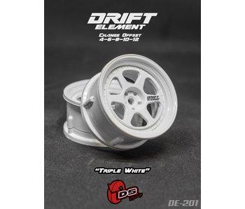 DS Racing Drift Element 2 Wheel - Adj. Offset (2) / Triple White