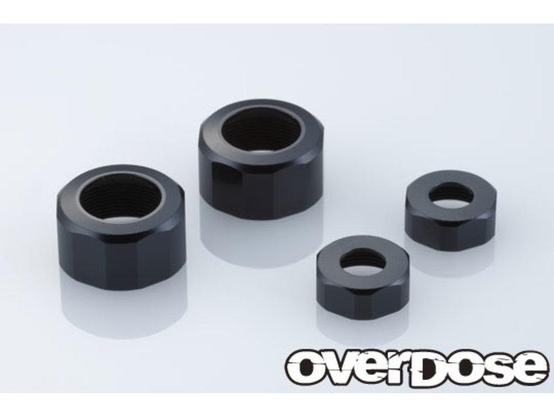 Overdose Aluminum Shock Cap Set for XEX / Color: Black (2pcs)