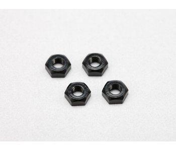 Yokomo Aluminium Plain Nut M3 - Black (4pcs)