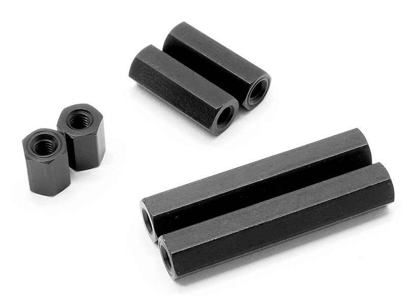 WRAP-UP Next 0036-74 - Alum. Hexagon Spacer 7mm - Black