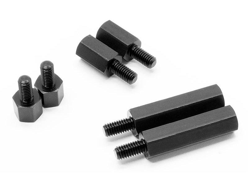 WRAP-UP Next 0036-66 - Alum. Hexagon Extension Spacer 9mm - Black