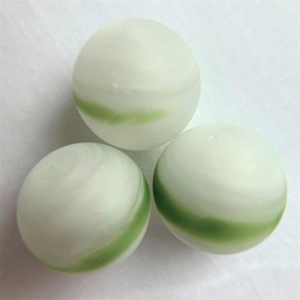 Turniermurmel 16,48mm - Weiß-grün gestreift