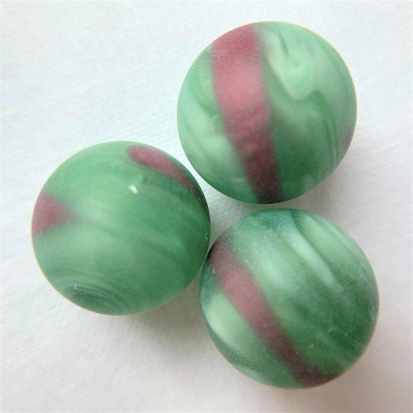 Turniermurmel 16,48mm - Grün-rosa gestreift