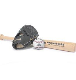 barnett BGBW-1 Zestaw baseballowy dla początkujących, rozmiar senior, drewniany kij, piłka, rękawica (BB-W 32, JL-120, BS-1)
