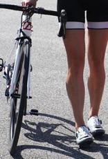 Czarno-białe  damskie spodnie rowerowe na szelkach