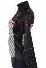kurtka z długim rękawem, wiatroszczelna różowo-czarna