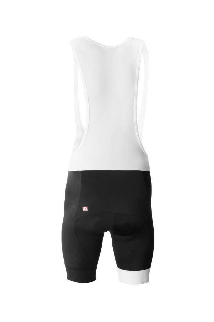 Czarno-białe meskie spodnie rowerowe na szelkach