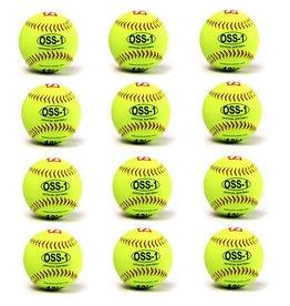 "barnett OSS-1 Turniejowa piłka Softballowa, rozmiar 12"", biała,12 sztuk"