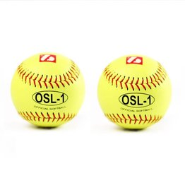 """OSL-1 High competition softball, size 12"""", yellow, 2 pieces"""