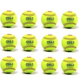 "OSS-2 Practice softball ball, soft touch, size 12"", white, 1 dozen"