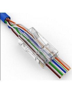 EZ-RJ45 Netzwerkkabel Modularer 8P8C-Stecker Offenes Ende Pass durch 50 Stück CAT6-Stecker EZ RJ45