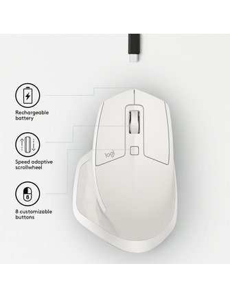 Logitech MX Master Mouse 2S Lichtgrijs (refurbished)