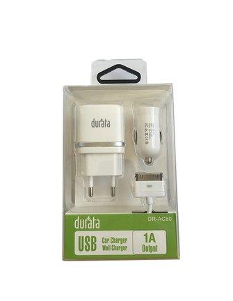 Durata iPhone 3/4/iPad of 5/6/iPad Thuis en Autolader USB 5V/1A 3-in1 DR-AC80