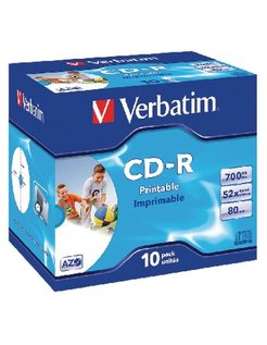 CD-R Verbatim 52x Jewelcase (10) Printable VER7220