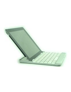 9.7 inch Aluminum Sleeve met Bluetooth toetsenbord voor Apple iPad 2 en 3/4 Wit [AIPAD23KW]