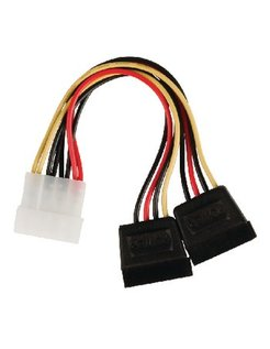Valueline interne stroom splitterkabel Molex mannelijk - 2x SATA 15-pins vrouwelijk 0,15m veelkleur