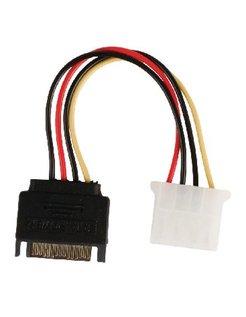 Valueline interne stroom adapterkabel SATA 15-pins mannelijk - Molex vrouwelijk 0,15m veelkleurig