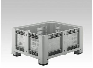 Palletbox 430 liter geperforeerd op 4 poten lichtgrijs 1200x1000x580 mm