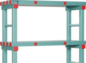 Kunststof stelling 150cm breed /30cm / 4schap 130cm hoog