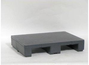 Kunststof pallet op 3 sleden, grijs, dek gesloten