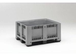 Palletbox 430 liter op 3 sleden, grijs