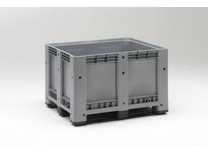 Palletbox 610 liter op 3 versterkte sleden, grijs