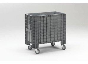 Grootvolume bak 400 liter op 4 wielen, grijs